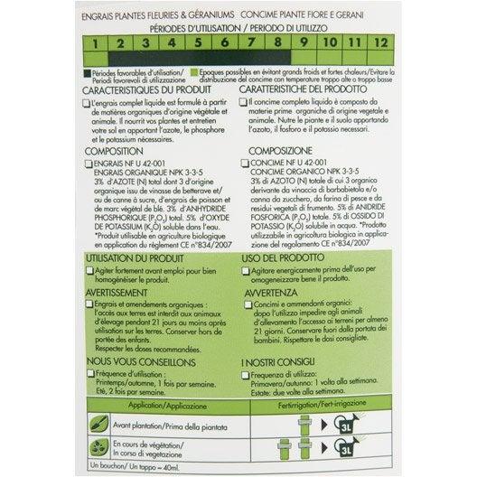 Engrais naturel géraniums et plantes fleuries GEOLIA 1l 100 m²
