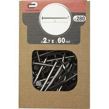 Clous spécial béton Acier, STANDERS tête plate, Diam.2.8 x L.60 mm