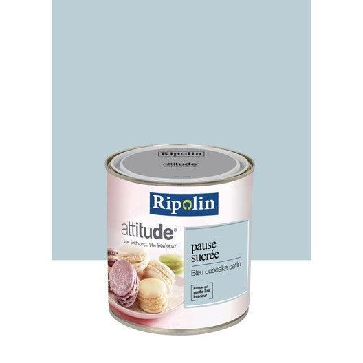 Peinture bleu cupcake ripolin attitude pause sucr e 0 5 l leroy merlin for Peinture ripolin attitude