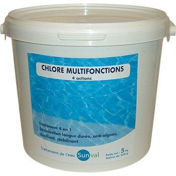 Chlore 4 actions piscine, galet 5 kg