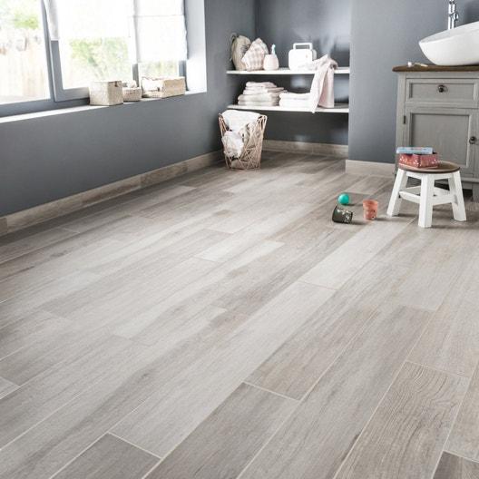Carrelage sol et mur blanc effet bois Way l.15 x L.90 cm | Leroy Merlin