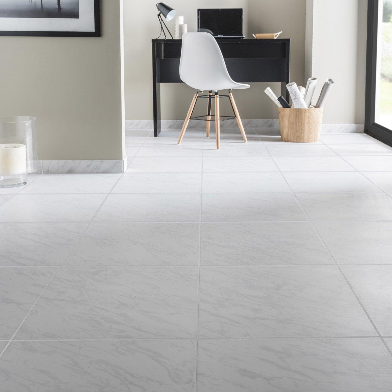 Carrelage sol et mur forte marbre blanc Cyclade l.45 x L.45 cm