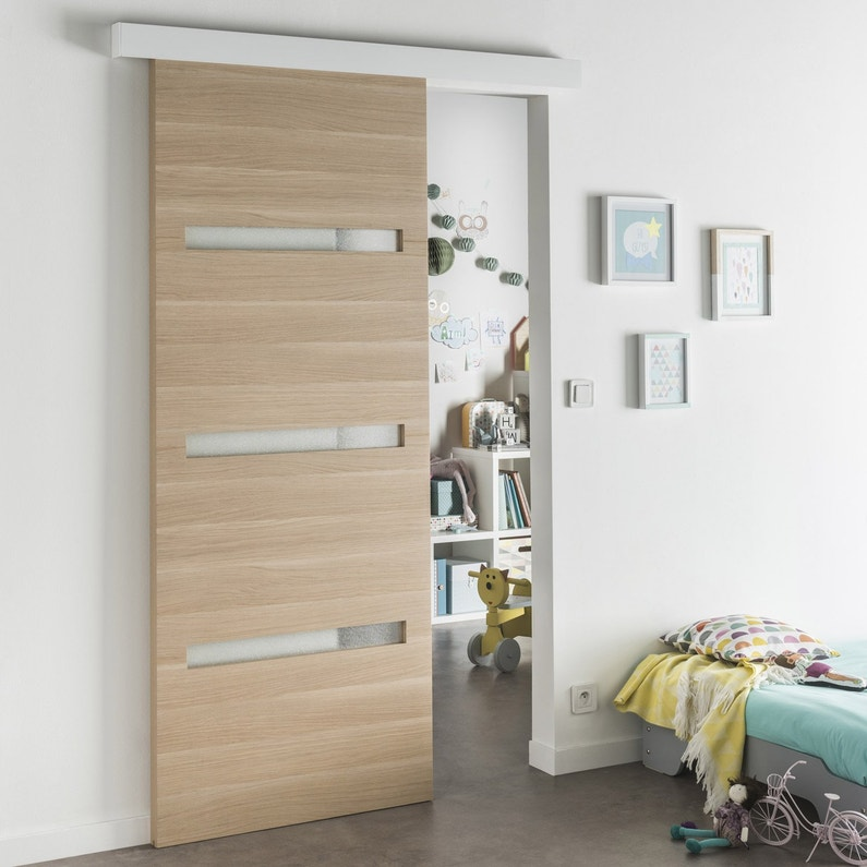 Porte Coulissante Medium Mdf Revetue Madrid 2 Artens H 204 X L 83