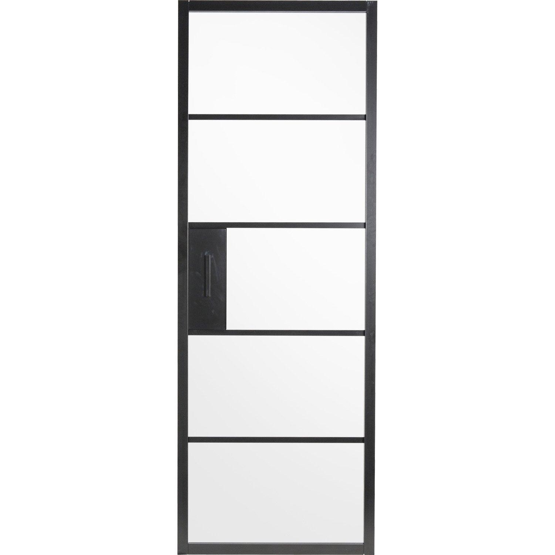 Porte coulissante laqu e noir chlo artens x for Porte interieure vitree 83 cm