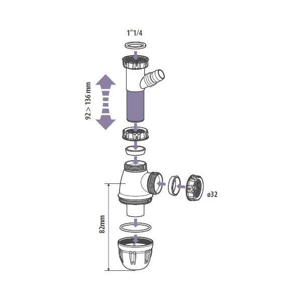 Siphon Avec Prise Machine à Laver Equation Diam 32 Mm