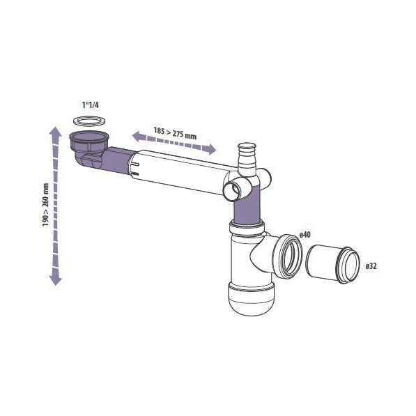 Siphon Réglable Equation Diam 40 Mm