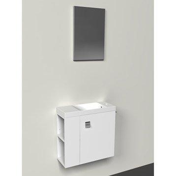Meuble lave-mains avec miroir Blanc-Blanc n°0 Slim