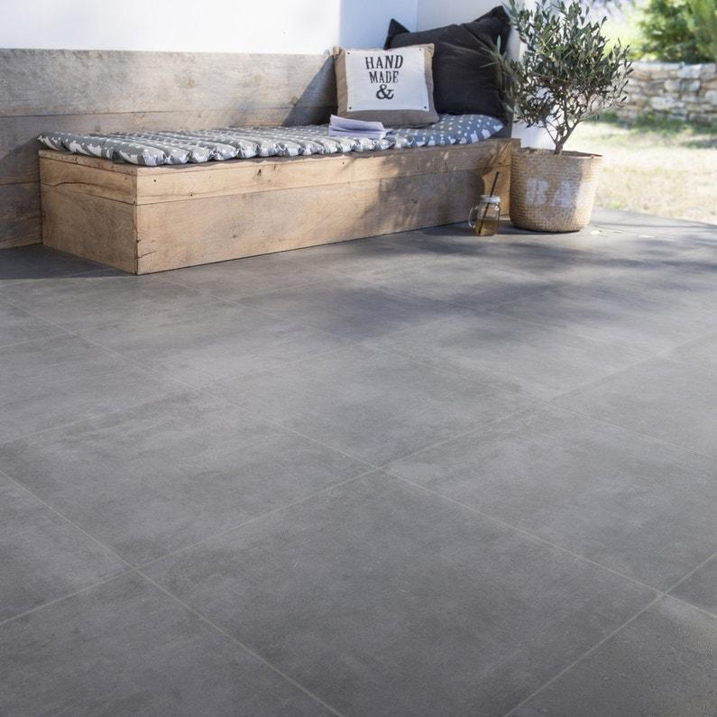 Carrelage Sol Et Mur Anthracite Aspect Carreau De Ciment L45 X L45
