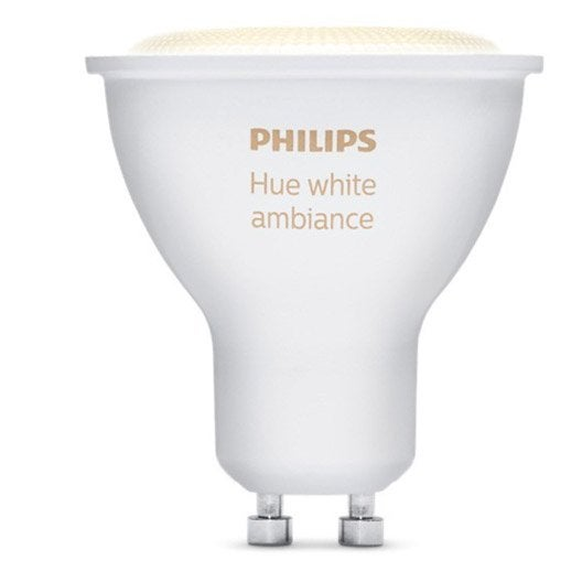 ampoule connect e philips hue white ambiance gu10 5 5w 250 lumens leroy merlin. Black Bedroom Furniture Sets. Home Design Ideas