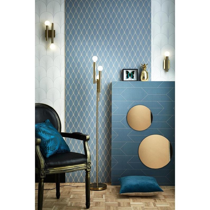 Papier Peint Vinyle Traits Bleu Vert Et Or As Creation Leroy Merlin