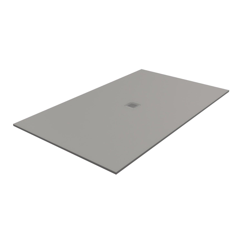 Receveur de douche rectangulaire L.160 x l.80 cm, pierre gris Kioto2 ...