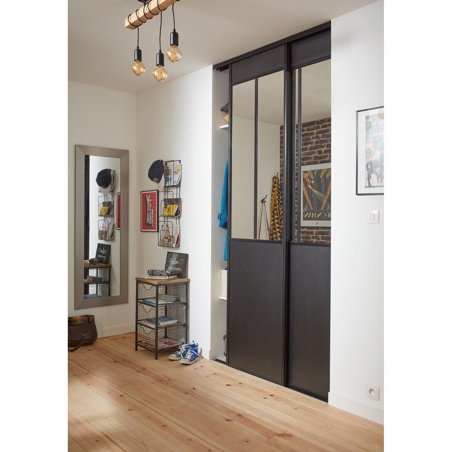 lot de 2 portes de placard rail coulissante noir ekipa x cm leroy merlin. Black Bedroom Furniture Sets. Home Design Ideas