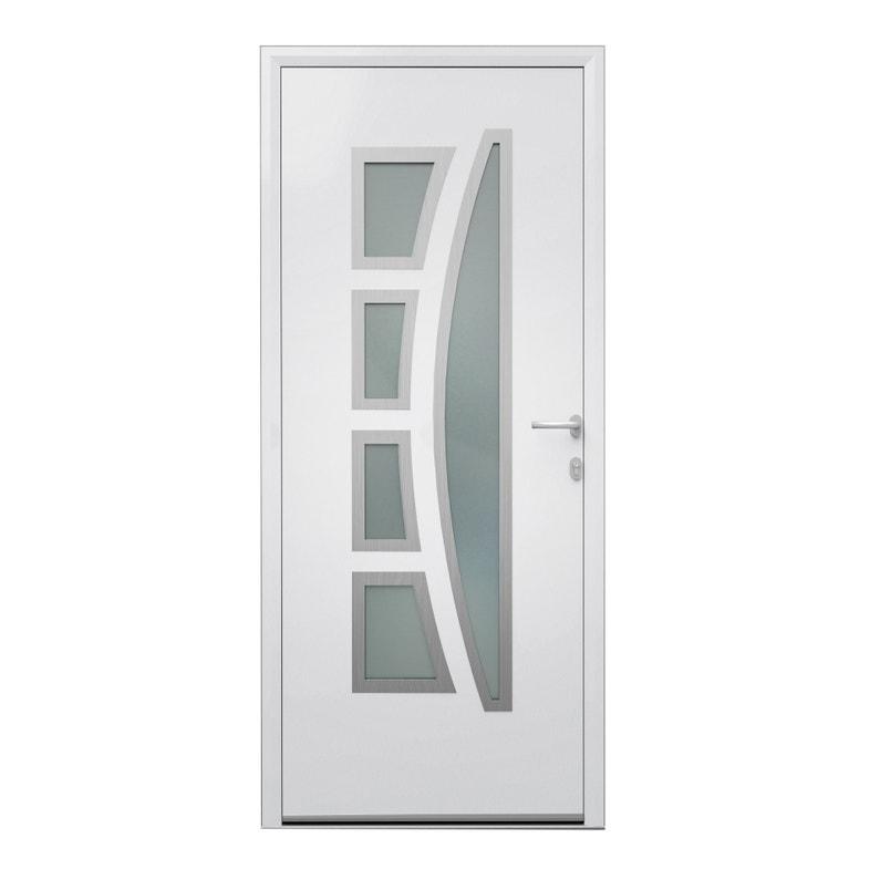Porte D Entrée Alu Riwa Essentiel H 215 X L 90 Cm Vitrée Blanc Pg