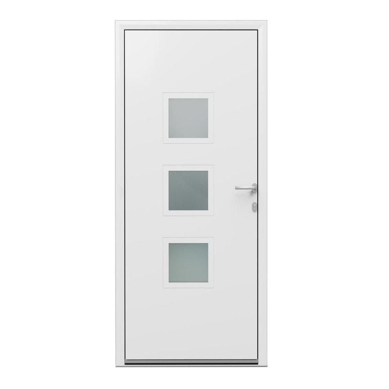 Porte Dentrée Alu Phenix 2 Essentiel H215 X L90 Cm Vitrée Blanc Pous Gauche