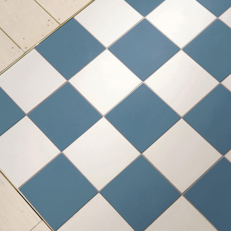 Carrelage sol et mur bleu foncé effet uni Archi l.15 x L.15 cm ...