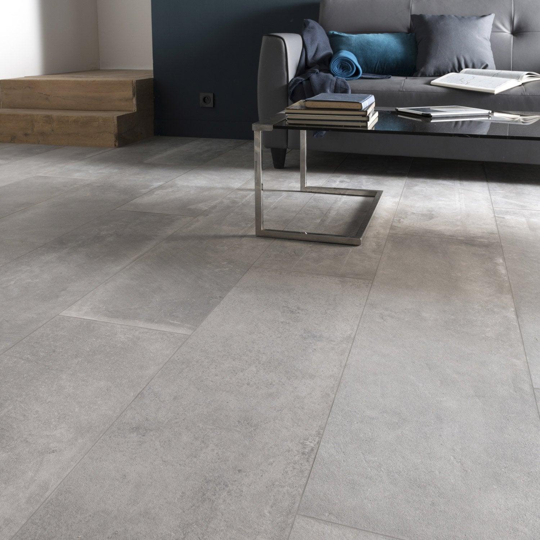 Carrelage sol mur intenso effet béton gris cendre Harlem l.30 x L.120 cm ARIANA