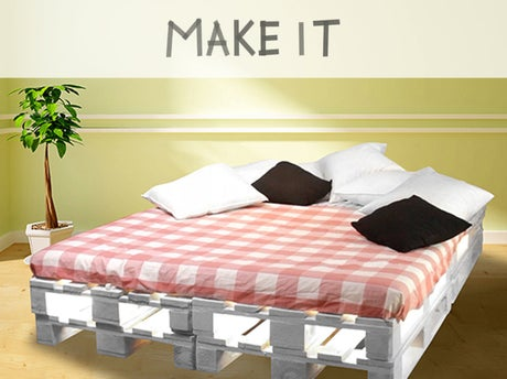 diy construire un lit avec des palettes leroy merlin. Black Bedroom Furniture Sets. Home Design Ideas