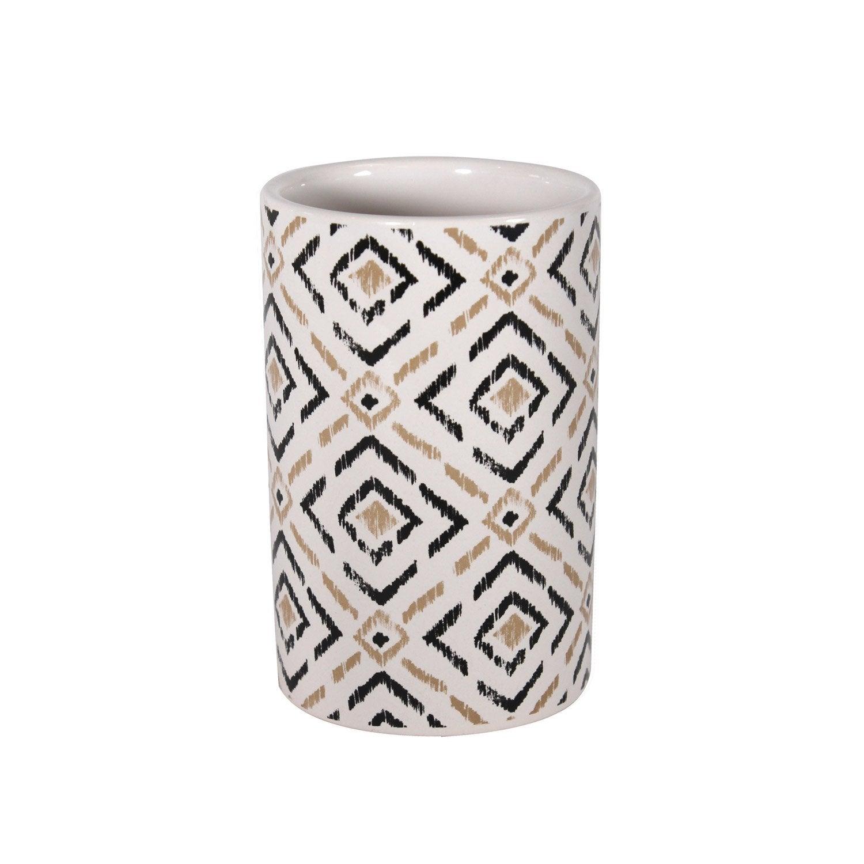 Gobelet céramique Nora, blanc ivoire, gris doré, gris zingué