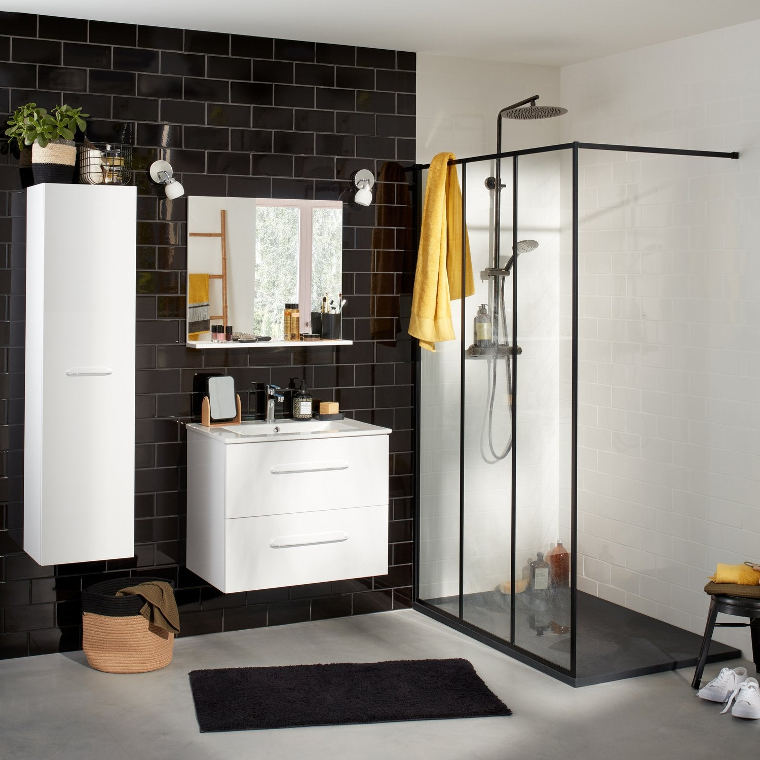 une douche l 39 italienne au style vintage industriel leroy merlin. Black Bedroom Furniture Sets. Home Design Ideas