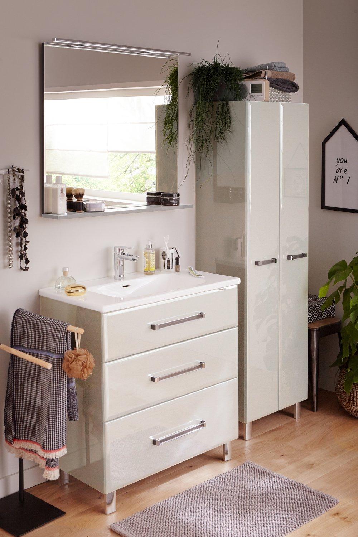 du mobilier de salle de bains laqu blanc leroy merlin. Black Bedroom Furniture Sets. Home Design Ideas