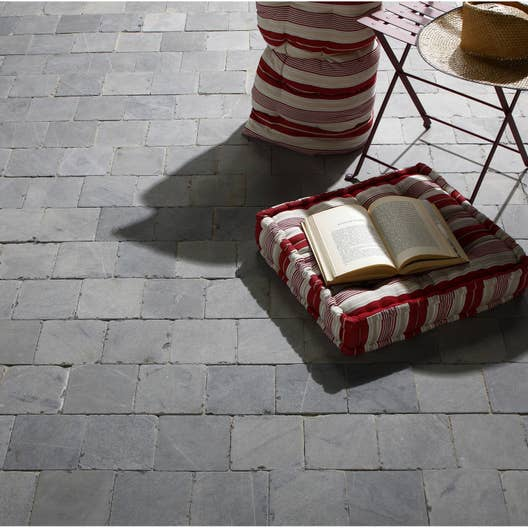 dalle en pierre bleue abysse bleu gris x cm mm leroy merlin. Black Bedroom Furniture Sets. Home Design Ideas
