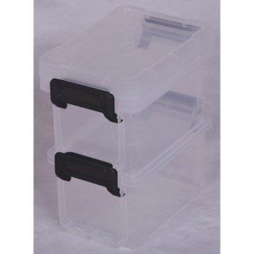 Lot de 2 boites Little large box plastique , l.8.2 x P.12.2 x H.7 cm