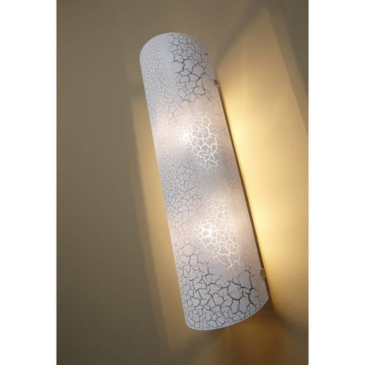 applique design g9 koba verre blanc craquel 2 inspire leroy merlin. Black Bedroom Furniture Sets. Home Design Ideas