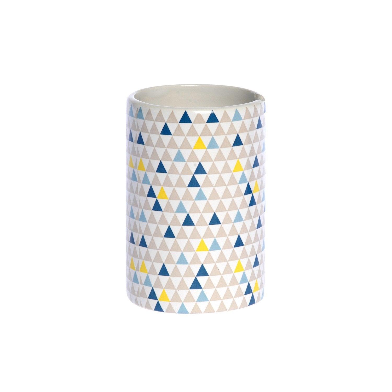 Gobelet céramique Geometric, bleu gris vert jaune