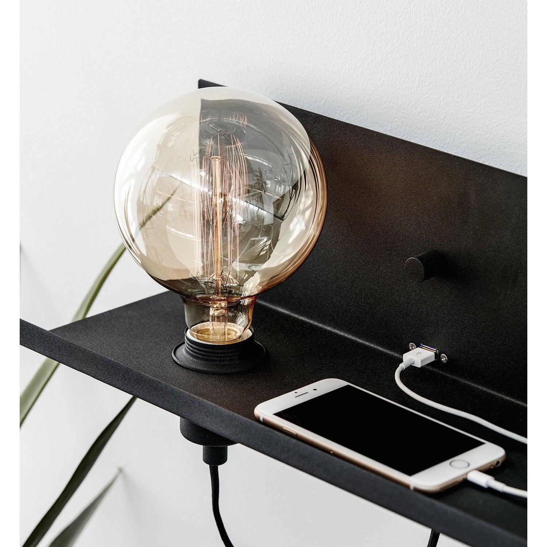 Applique, design e27 Multi usb métal Noir, 1 lumière MARKSLOJD