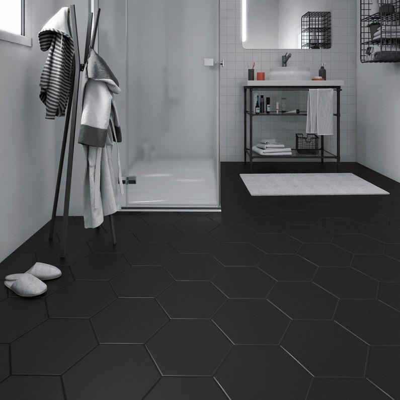 Carrelage sol et mur forte béton noir Hexo l.25.8 x L.29 cm | Leroy ...