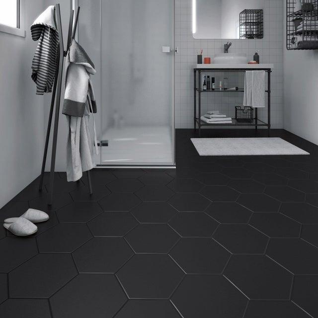 Carrelage sol et mur forte effet béton noir Hexo l.25.8 x L.29 cm