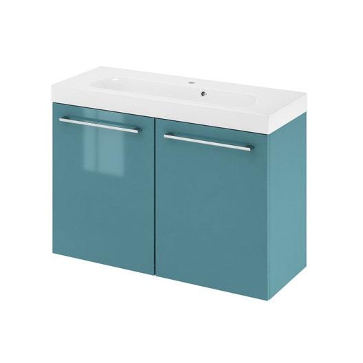 Meuble de salle de bains, Remix, l.91, vert, Simple vasque, 2 portes ...
