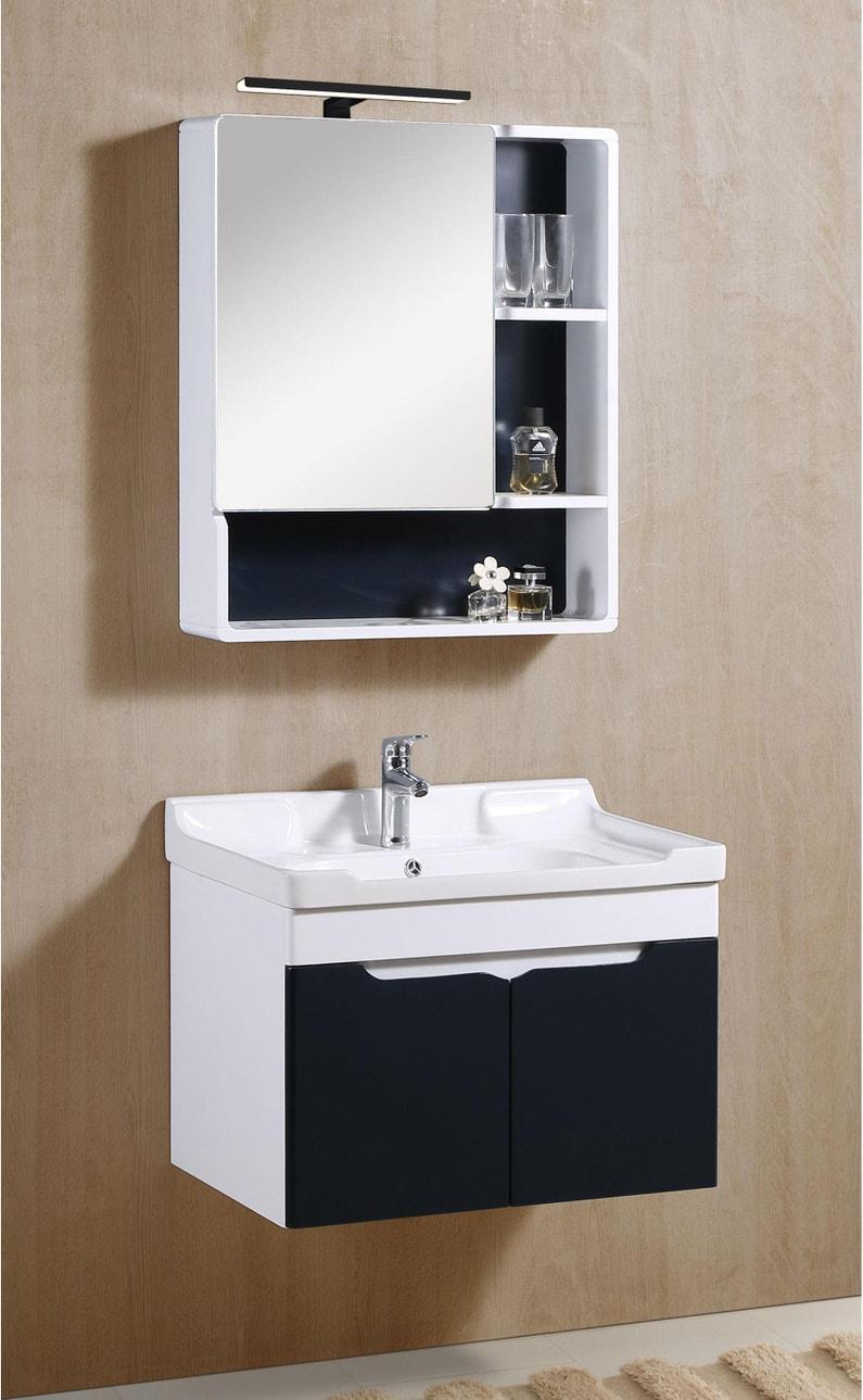 Spot pour miroir avec éclairage intégré, l.15 x H.15 cm Parma noir