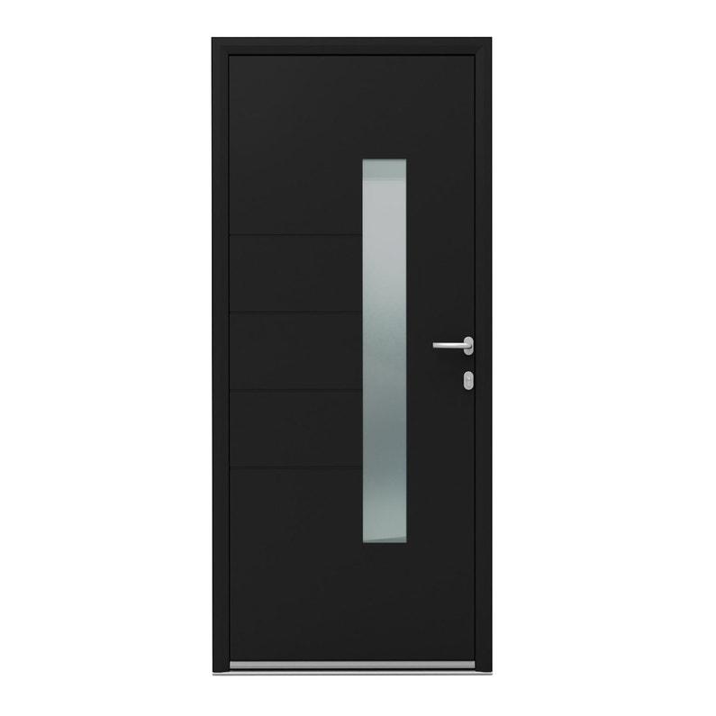 Porte D Entrée Alu Navia Essentiel H 215 X L 90 Cm Vitrée Noir Pg