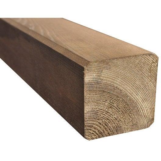 poteau bois carré marron, h.240 x l.7 x p.7 cm | leroy merlin