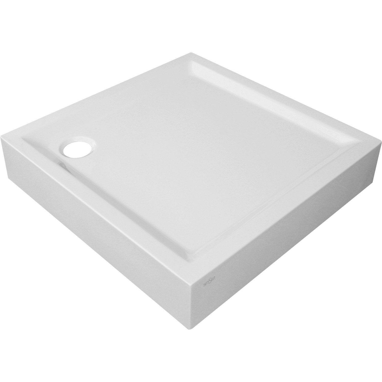 receveur de douche carr x cm acrylique blanc houston sur lev leroy merlin. Black Bedroom Furniture Sets. Home Design Ideas