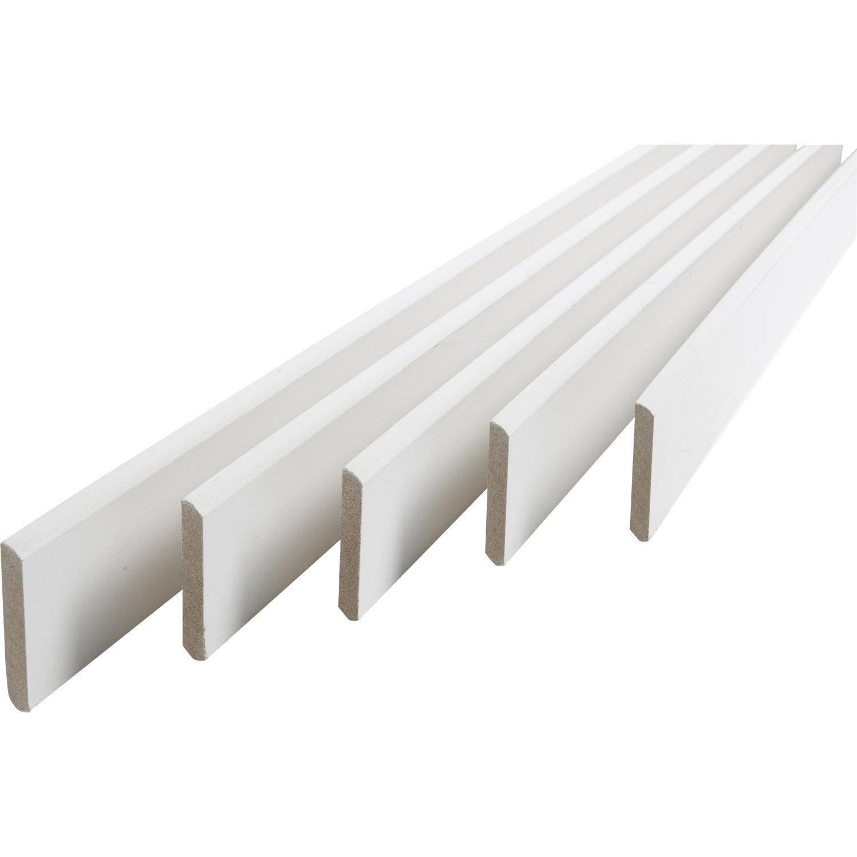 Lot De 5 Plinthes Médium (MDF) Arrondies Revêtu Mélaminé Blanc, 9 X 68