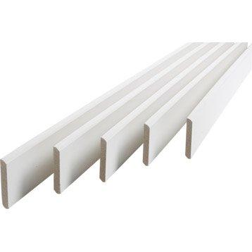 Lot de 5 plinthes médium (MDF) arrondies revêtu mélaminé blanc, 9 x 68 mm, L.2 m