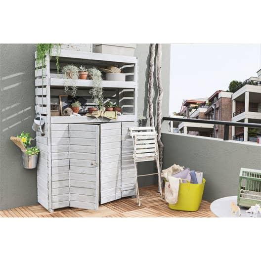 armoire de jardin bois beli naturelle x x cm leroy merlin. Black Bedroom Furniture Sets. Home Design Ideas