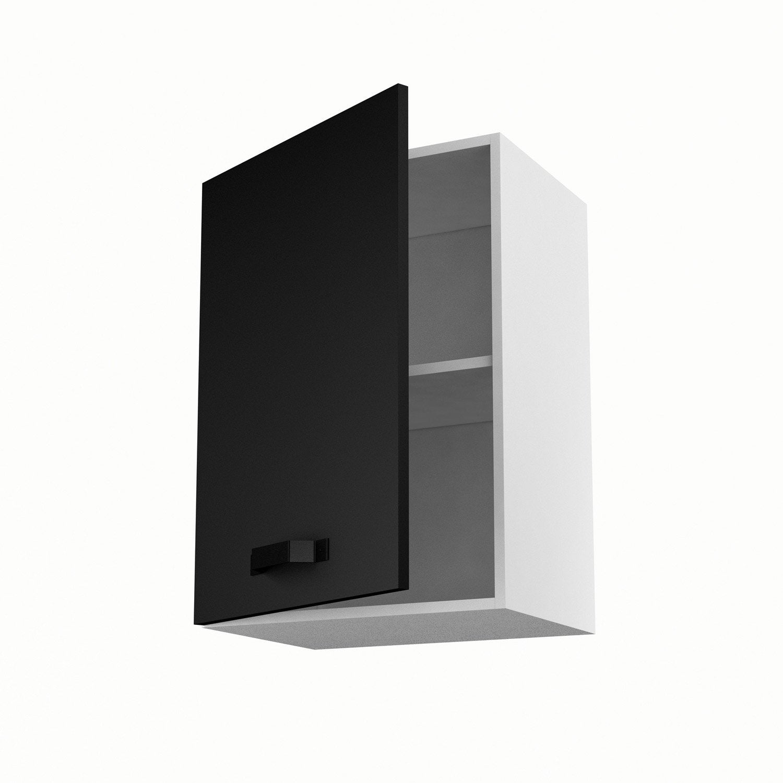 meuble de cuisine haut noir 1 porte mat edition h.70 x l.50 x p.35