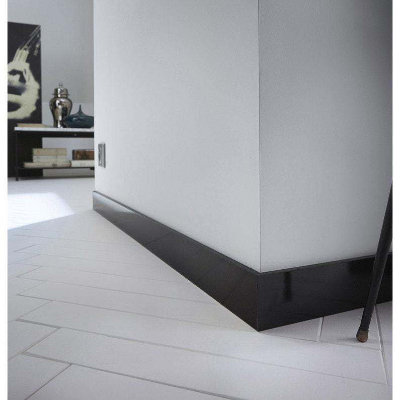 Plinthe Médium Mdf Droite Revêtu Mélaminé Noir Brillant 10 X 70 Mm L22 M