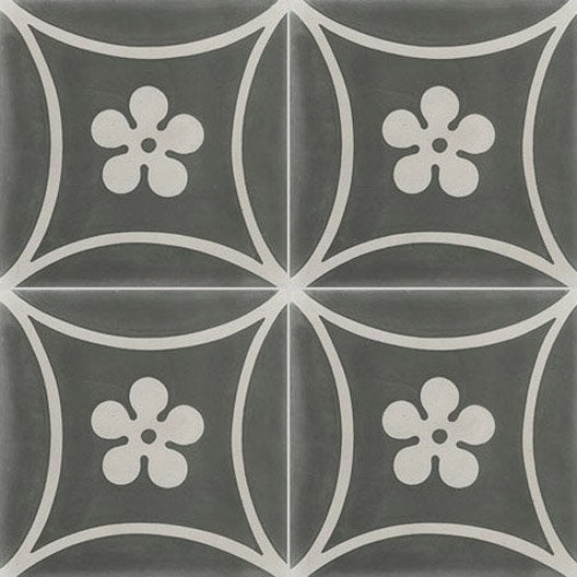 carreau de ciment sol et mur gris foncé marguerite l.20 x l.20 cm