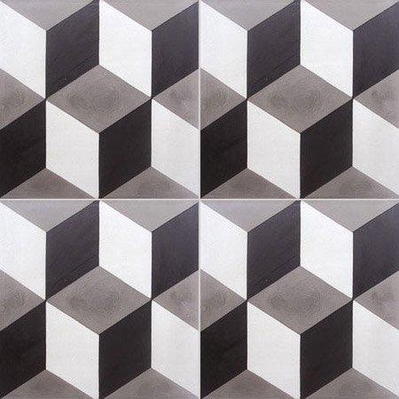 Carreau De Ciment Sol Et Mur Blanc Et Noir 3d L 20 X L 20 Cm