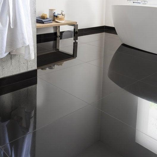 Carrelage sol et mur noir effet uni crystal x cm for Carrelage sol brillant
