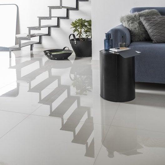 Carrelage sol et mur blanc effet uni crystal x Carrelage noir brillant