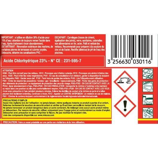 Acide chlorhydrique mieuxa 1 l leroy merlin for Acide chlorhydrique nettoyage carrelage