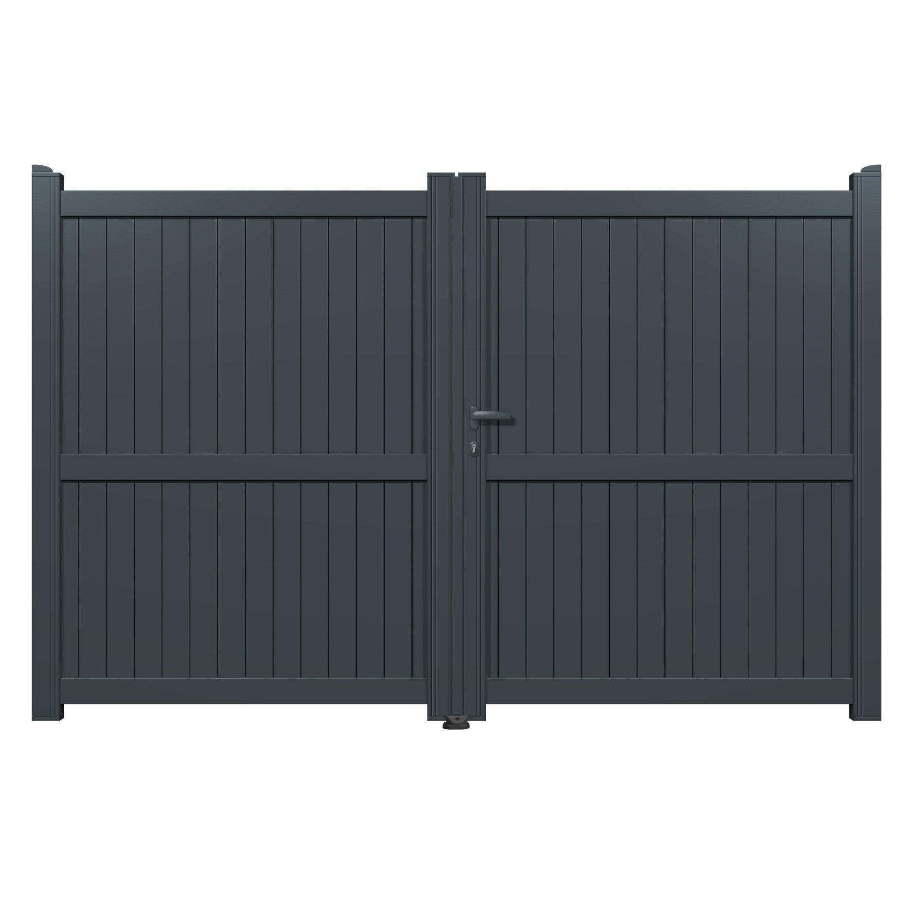 portail battant aluminium matisse gris l300 x h180 cm