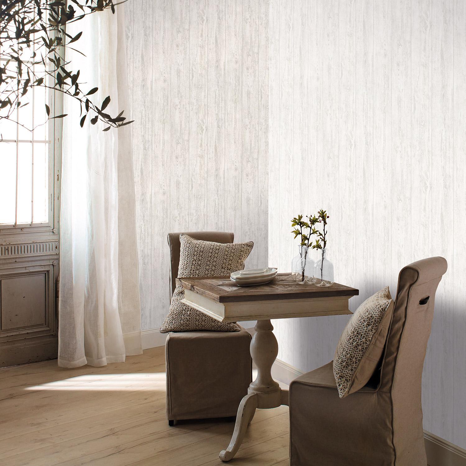 Papier peint vinyle sur intissé Planche 3D blanc et beige