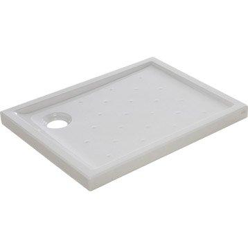Receveur de douche rectangulaire L.90 x l.70 cm, grès blanc Asca2