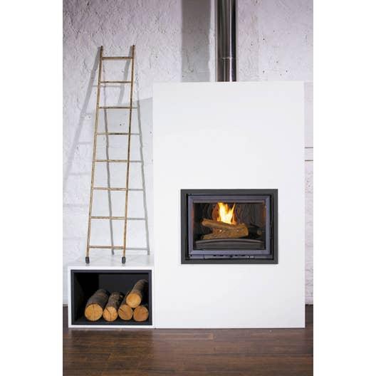 Cadre d\'habillage de cheminée façade en métal, EQUATION, Laqué noir ...